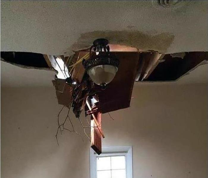 heavy rains caused ceiling to cave in